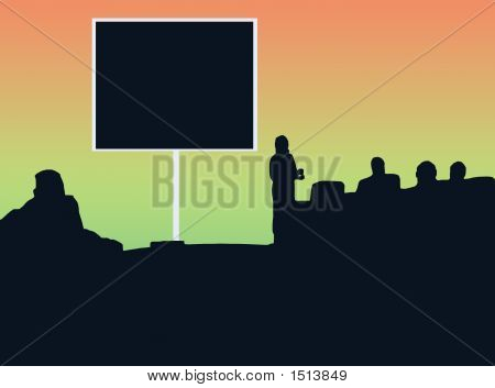Silhouette Classroom With Black Screen