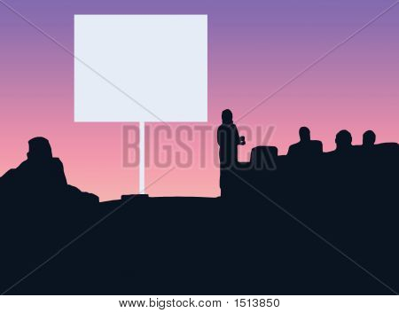 Classroom Silhouette With White Screen