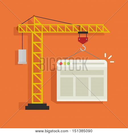 Crane building website vector illustration, concept of web page developing service banner isolated on color background