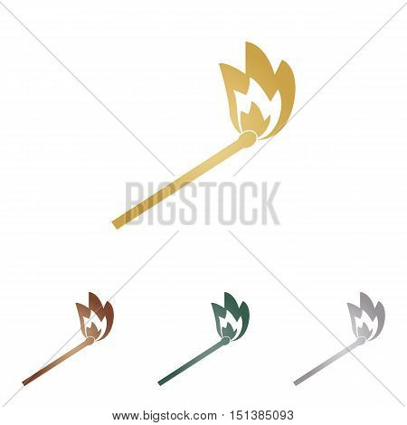 Match Sign Illustration. Metal Icons On White Backgound.