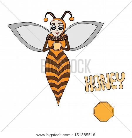 Vector cartoon bee hold a hand a delicious honey. Art element for adult coloring book page design child magazine banner template.
