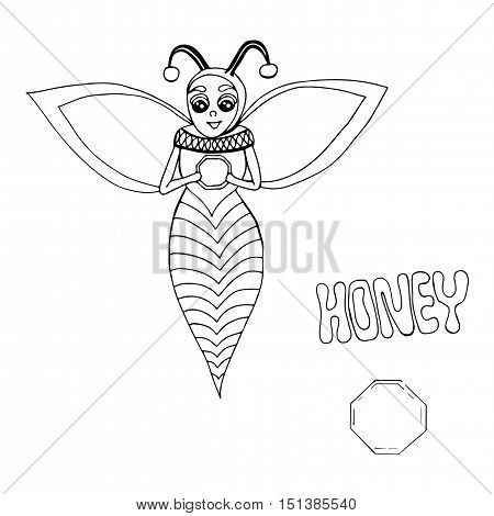 Vector happy cartoon bee hold a hand a delicious honey. Mono color black line art element for adult coloring book page design child magazine banner template.