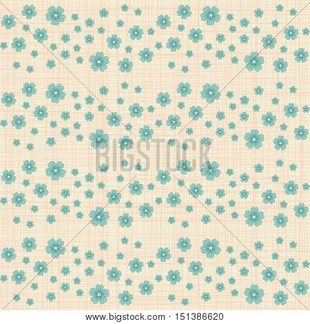 Cute seamless pattern with many repeating orange flowers on the canvas background. Vector illustration eps 10