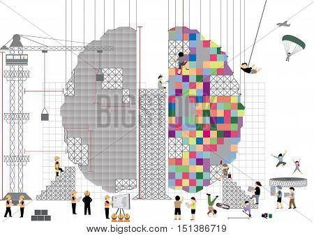 Brain building concept vector ; Vector illustration