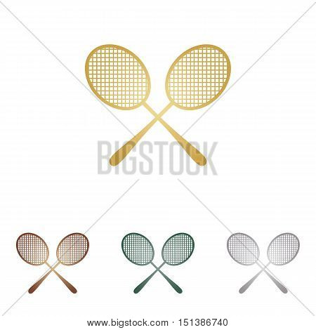 Tennis Racquets Sign. Metal Icons On White Backgound.