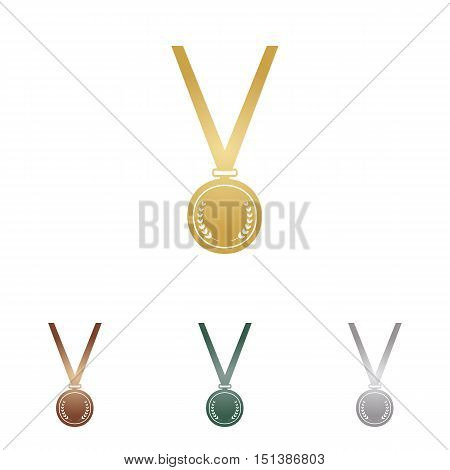 Medal Simple Sign. Metal Icons On White Backgound.
