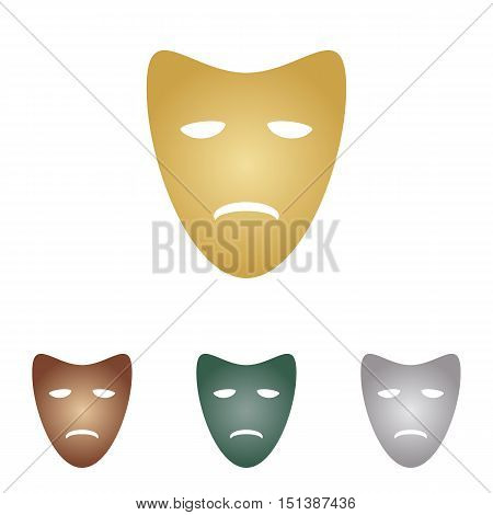 Tragedy Theatrical Masks. Metal Icons On White Backgound.