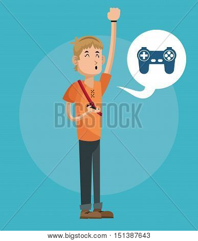 Boy cartoon with videogame icon. Mobile people theme. Colorful design. Vector illustration