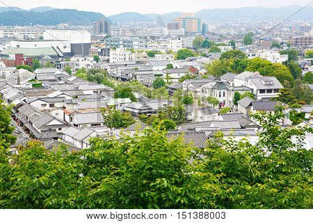 View over Kurashiki city. The preservative city of Okayama prefecture. Japan. Beautiful japanese old town with typical streets and architecture.