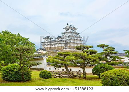 Main tower of the Himeji Castle, the white Heron castle, Japan. UNESCO world heritage site after restauration and reopening.
