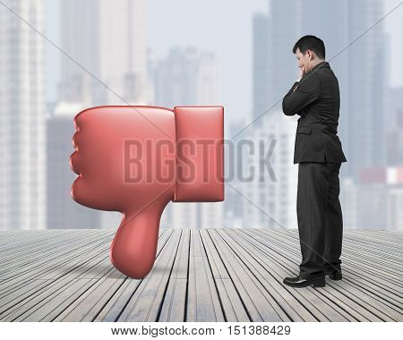 Standing Man Looking At Dislike Thumb Down Mark