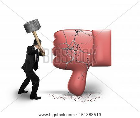 Businessman Holding Hammer Hitting Dislike Thumb Down Mark With Cracks