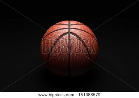 Basketball concept, Closeup  basketball, basketball on  black background. 3D illustration