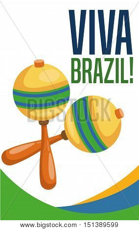 Maraca instrument icon. Brazil culture america and tourism theme. Colorful design. Vector illustration