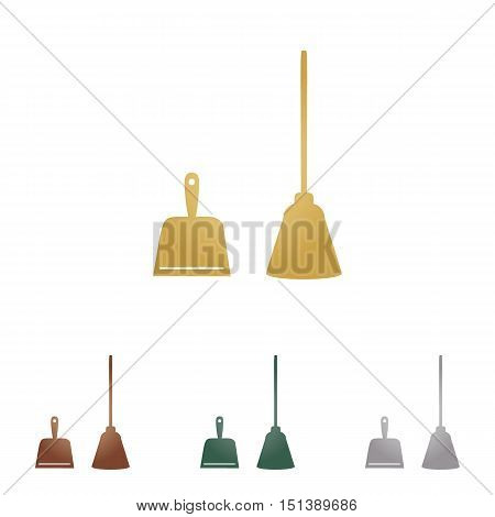 Dustpan Vector Sign. Scoop For Cleaning Garbage Housework Dustpan Equipment. Metal Icons On White Ba
