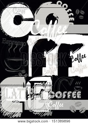 abstract coffee background with word and letter design template grungy