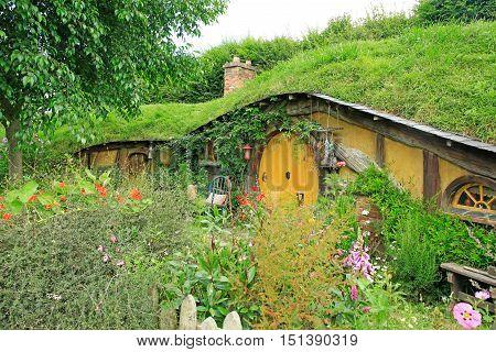 Matamata, New Zealand - January 15, 2015: Hobbiton - Fictional Village Created For The Movie Lord Of
