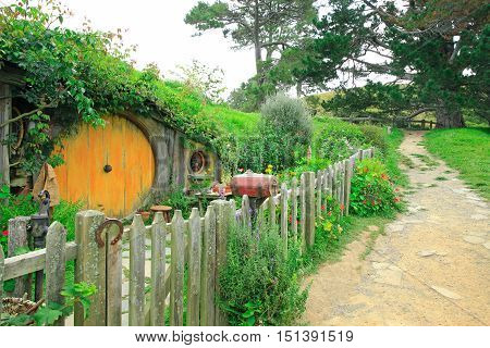 Matamata, New Zealand - January 15, 2015: Hobbiton - Movie Set Created For Filming The Lord Of The R