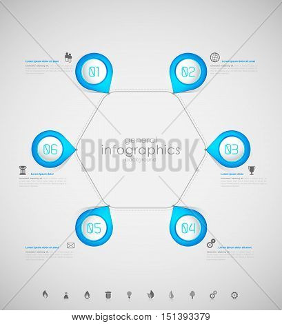 Infographic overview design template with blue labels.