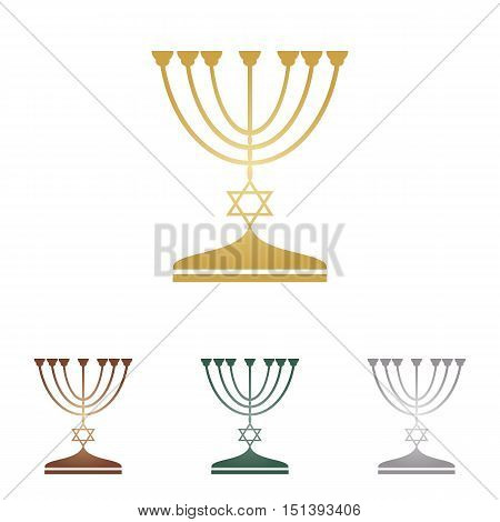 Jewish Menorah Candlestick In Black Silhouette. Metal Icons On White Backgound.