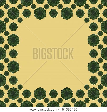 Cute funny background pattern square border frame with many repeating stylized green flowers on the yellow fond. With space for invitations or different events greeting cards text. Vector illustration eps