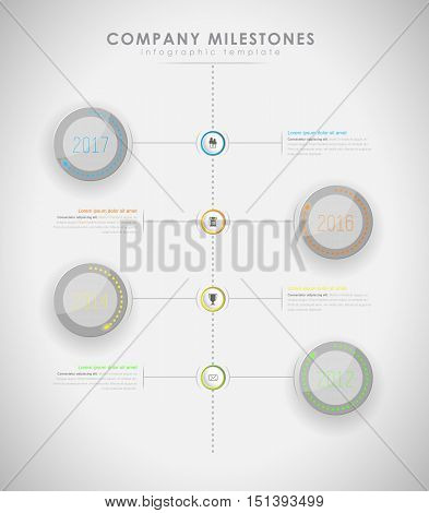 Infographic company milestones timeline vector template with led light effect - light version