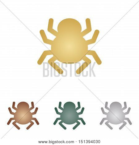 Spider Sign Illustration. Metal Icons On White Backgound.