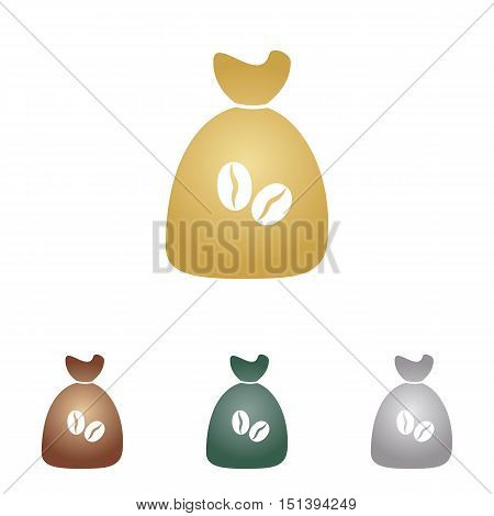 Coffee Bag Icon. Coffee Bag Vector. Coffee Bag Icon Button. Metal Icons On White Backgound.
