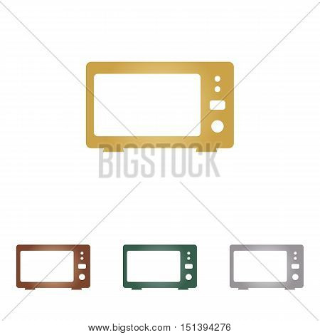 Microwave Sign Illustration. Metal Icons On White Backgound.