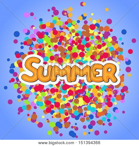 Summer yellow vector lettering on abstract color background with irregular circles. Text vector illustration. Hand drawn inspirational quote.