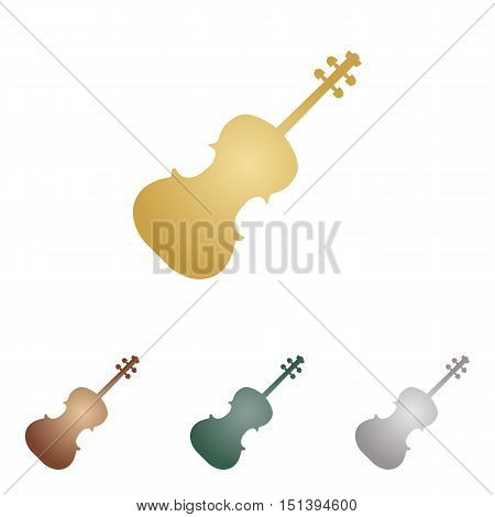 Violine Sign Illustration. Metal Icons On White Backgound.