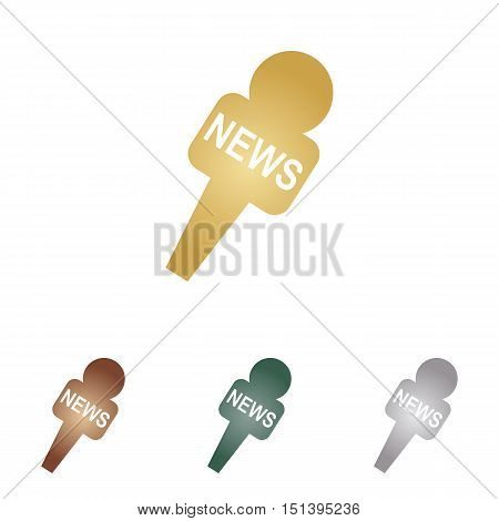 Tv News Microphone Sign Illustration. Metal Icons On White Backgound.