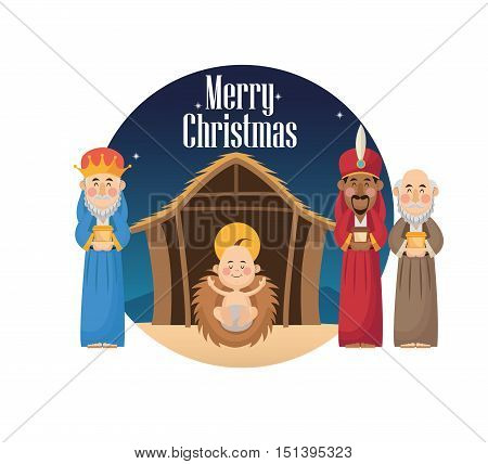 Three wise men cartoon with gift and baby jesus icon. Holy family and merry christmas season theme. Colorful design. Vector illustration