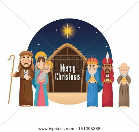 Mary joseph jesus and wise men icon. Holy family and merry christmas season theme. Colorful design. Vector illustration