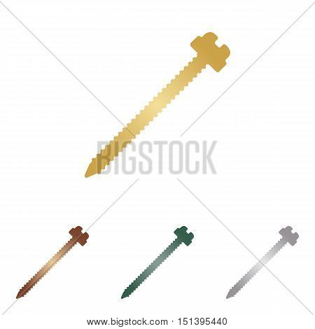 Screw Sign Illustration. Metal Icons On White Backgound.