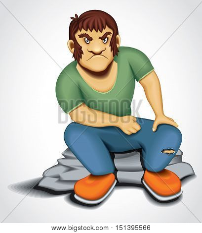 Cartoon Bad Boy Retro Angry Male Character