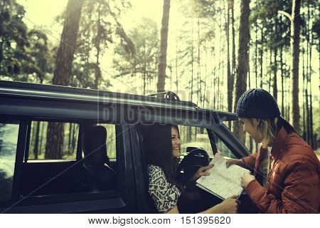 Woman Adventure Get Lost Location Destination Concept