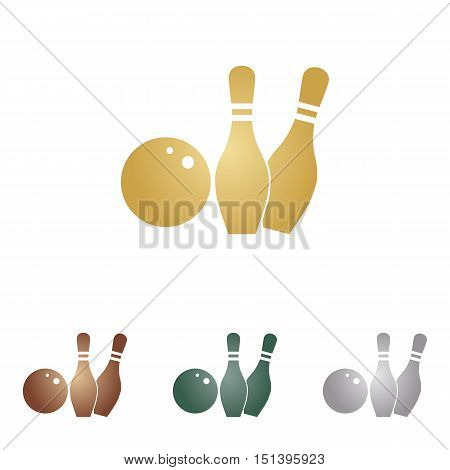 Bowling Sign Illustration. Metal Icons On White Backgound.