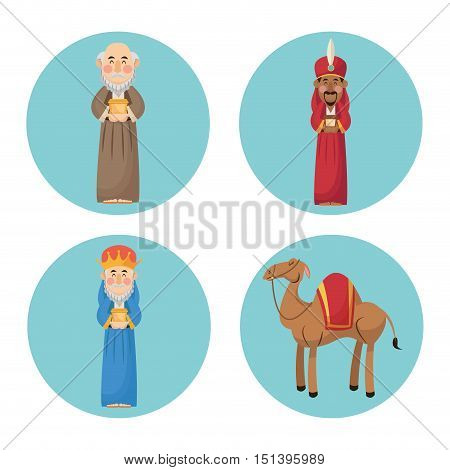 Three wise men cartoon with gift and camels icon. Holy family and merry christmas season theme. Colorful design. Vector illustration