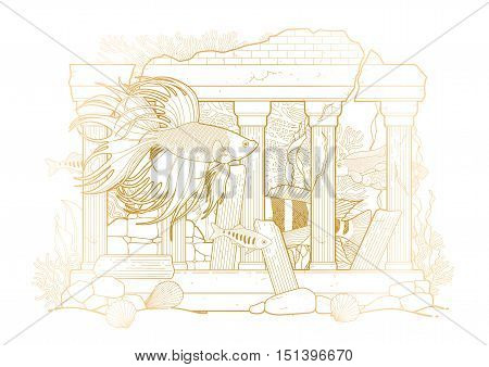 Graphic aquarium fish with architectural sculpture drawn in line art style. Isolated under water scenery on the white background in golden colors. Ancient Roman architecture.