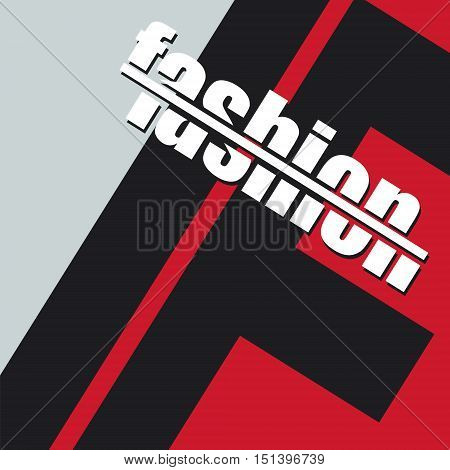 Illustration depicting cutout printed letters arranged to form the word fashion.