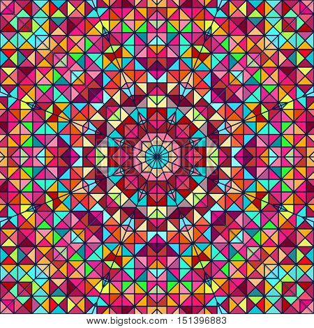 Abstract Colorful Digital Decorative Flower. Geometric Contrast Line Star and Blue Pink Red Cyan Color Artistic Backdrop