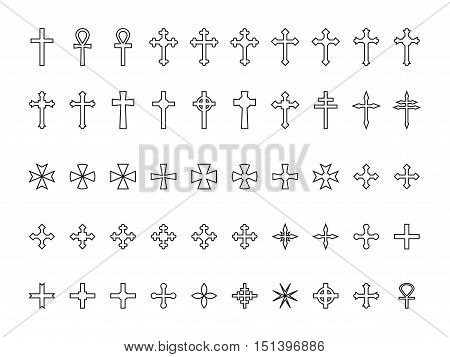 Big collection of crosses contours isolated on white background