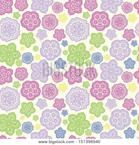 summer meadow color abstract flower seamless pattern vector background illustration
