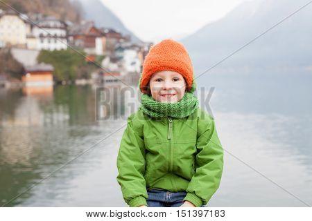 Close Portrait Of Cute Little Boy In Hallstatt, Austria
