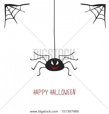 Halloween greeting card with spider. Vector illustration