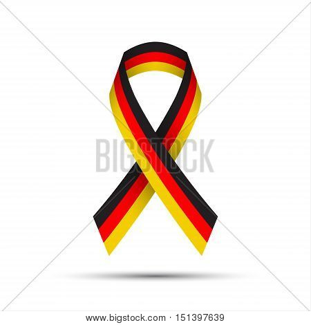 Modern colored ribbon with the German tricolor on white background vector illustration