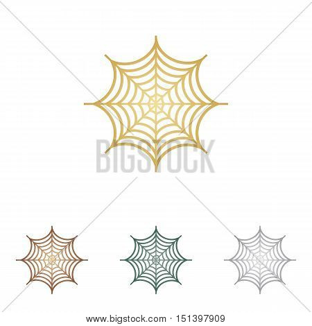 Spider On Web Illustration. Metal Icons On White Backgound.