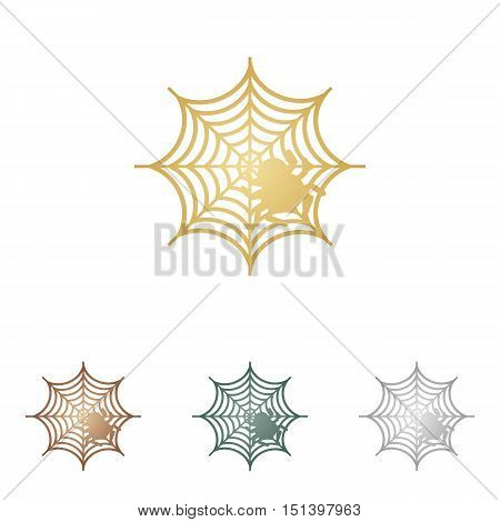 Spider On Web Illustration Metal Icons On White Backgound.