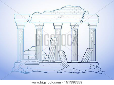 Graphic half-ruined architecture with column drawn in line art style. Ancient building isolated on the white background in blue colors.